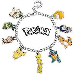 Superheroes Pokemon 9 Charms Lobster Clasp Bracelet in Gift Box by
