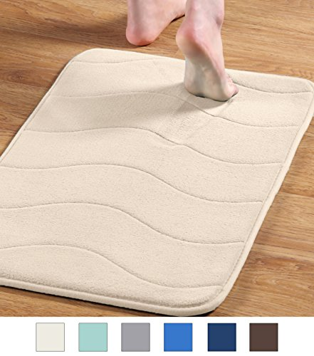 FlamingoP Soft Non Slip Absorbent Bath Rugs, Memory Foam Bath Mats by (Ivory, Waved Pattern, Size:W17 xL24)