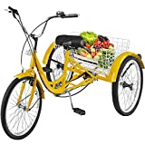 Happybuy Adult Tricycle 7 Speed Single Wheel Size Cruise Bike 26 in Adjustable Trike with Bell, Brake System Cruiser Bicycles Large Size Basket for Recreation, Shopping (Yellow, 26' / 7-Speed)