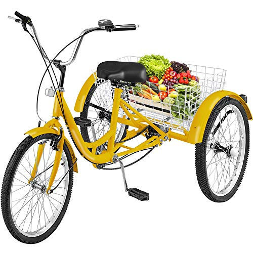 (Happybuy Adult Tricycle 7 Speed Three Wheel Bike Cruise Bike 24in Seat Adjustable Trike with System Cruiser Bicycles Large Size Basket for Shopping Exercise(Yellow 7))