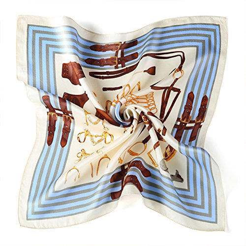 Printed Silk Square Scarf (Satin Silk Neckerchief Sundayrose Printed Small Square Scarves (Little Cockhorse))