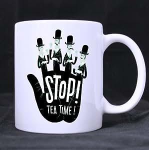 De Palm, stop! Tea Time de cerámica taza blanca, con texto de frases de tazas