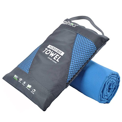 Rainleaf Microfiber Towel, 30 X 60 Inches. Blue.