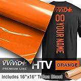 VVIVID+ Orange Premium Line Heat Transfer Vinyl Film for Cricut, Silhouette & Cameo (12'' x 1800'' (150ft) w/ teflon sheet)