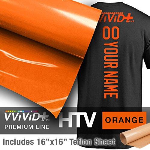 VVIVID+ Orange Premium Line Heat Transfer Vinyl Film for Cricut, Silhouette & Cameo (12'' x 1800'' (150ft) w/ teflon sheet) by VViViD