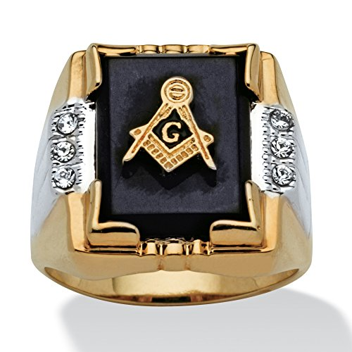 Men's Genuine Black Onyx and Crystal Two-Tone Masonic Ring 14k Gold-Plated Size (Rectangle Two Tone Ring)