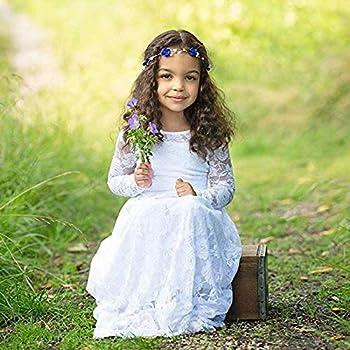 CQDY Vestido de Princesa para niña, Blanco, Boda, Flores, Vestido ...