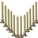 Set of 12 Warm Yellow LED Taper Candles Lights with Remote Control, Brightly Flameless Battery Operated Candles With Removeable Clips for Window, Chandelier, Christmas and Gift