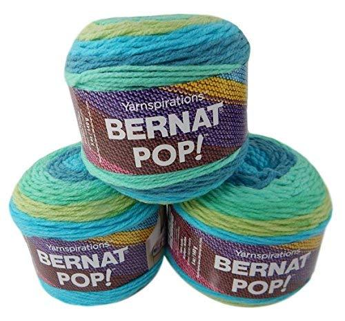 (Bernat Pop Worsted Medium #4 Weight Self-Striping 3-Pack Acrylic Yarn 5 Ounces 280 Yards (Peacock Plume))