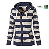 Women Plain Zipper Spring Hoodie Striped Hooded Jacket