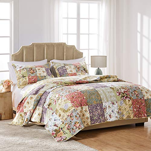 Greenland Home Blooming Prairie 100% Cotton Authentic Patchwork Quilt Set, 3-Piece Full/Queen (Queen Sets Quilt)