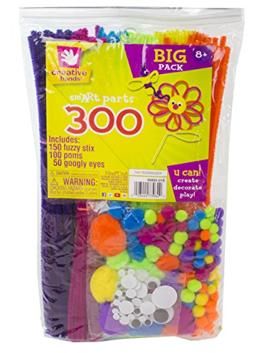 Creative Hands by Fibre-Craft - 300-Piece Assorted Sm'ART Parts - Arts and Crafts - No Scissors or Glue Required - For Ages 3 and - Supplies Craft
