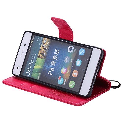 JODON Phone Funda Cover, Para Huawei P8 Lite Case, Sun Flower Diseño de impresión PU Leather Flip Wallet Lanyard funda protectora con ranura para tarjeta / soporte ( Color : Red )