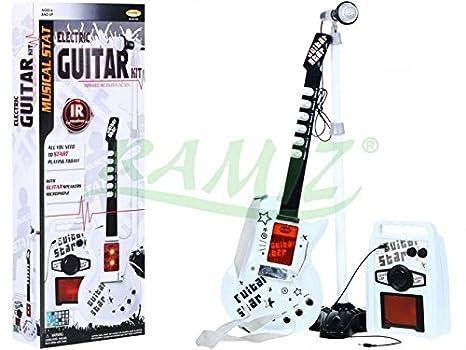 Guitarra Eléctrica de Juguete - Guitarra Micrófono Amplificador - Blanco: Amazon.es: Juguetes y juegos
