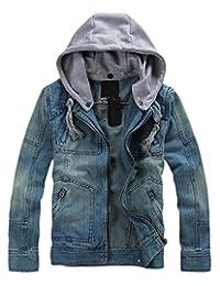Ubling Mens Rugged Wear Drawstring Hood Denim Jacket