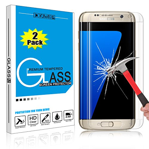 [2 PACK CLEAR] Samsung Galaxy S7 Edge Screen Protector, DONWELL Full Screen Coverage Tempered Glass Screen Protector for Galaxy S7 Edge/SM-G935 [3D Curved] [Edge to Edge] [HD Clear] [Bubble Free]