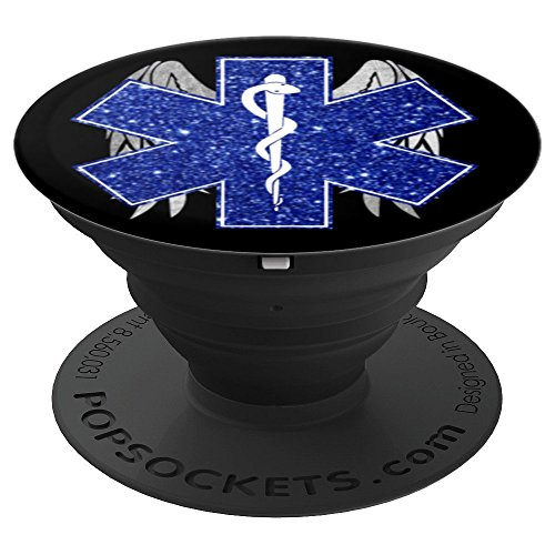 (EMT Star of Life Emergency Medical Faux Glitter Silver Wings - PopSockets Grip and Stand for Phones and)