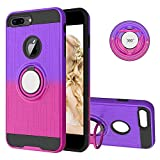 iPhone 8 Plus Case, Folice 360 Degree Rotating Ring Holder Kickstand Bracket Cover Phone Case for Apple iPhone 6s Plus/iPhone 6 Plus/iPhone 7 Plus/iPhone 8 Plus (Deep Purple/Rose Red)