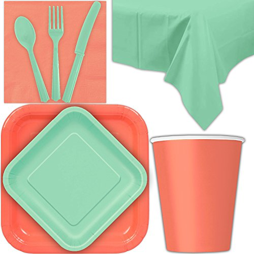 (Disposable Party Supplies for 28 Guests - Coral and Mint - Square Dinner Plates, Square Dessert Plates, Cups, Lunch Napkins, Cutlery, and Tablecloths: Premium Quality Tableware Set)