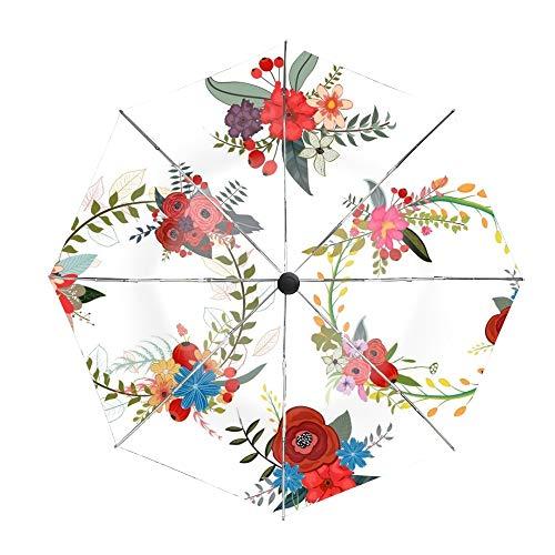 - Compact Umbrella,Set Of Four Flower Wreaths Automatic Folding Travel Umbrella, Ergonomic Non-Slip Handle, Auto Open/Close