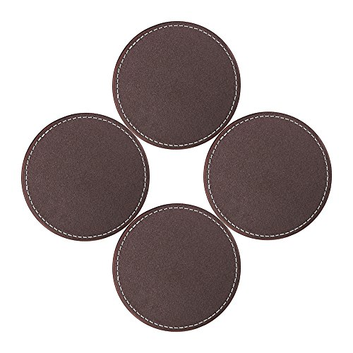 Coasters for Drinks, SanPlus Leather Coasters Set of 4,Coaster set without Holder,Protect Furniture From (Leather 4 Coaster Set)