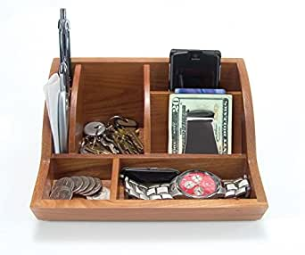 """Storus Smart Valet Tray-Desk/Night Stand Personal Organizer-Stores Accessories From Your Pockets Or Purse All In One Place-Natural Oak Wood-Measures 8"""" L x 5.25"""" D x 3.5"""" H"""