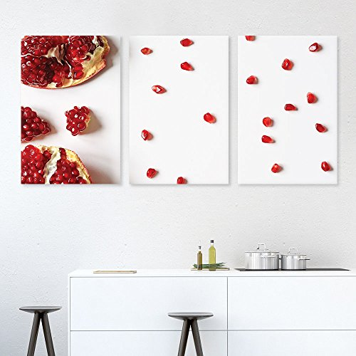 3 Panel Red Pomegranate Seeds x 3 Panels
