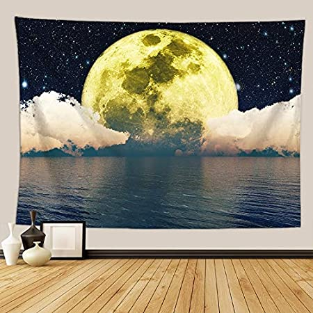 KHKJ Tapiz psicodélico de Galaxia Luna Paisaje Colgante de Pared Dormitorio cabecera Mandala Alfombra de Pared Cielo Estrellado Manta de Pared A12 150x130cm