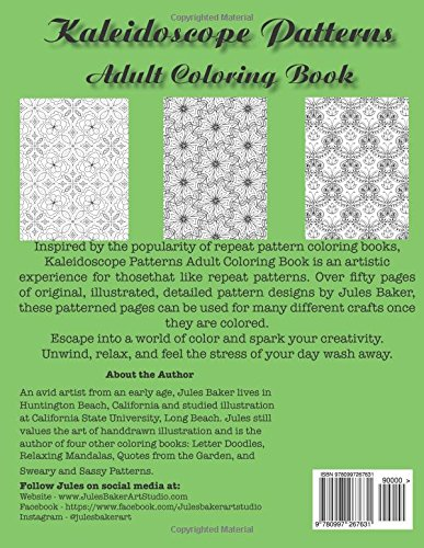 Amazon Kaleidoscope Patterns Adult Coloring Book Repeat To Color 9780997267631 Jules Baker Books