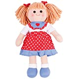 "Bigjigs Toys BJD042 13"" Emily-Soft Body Plush Toy Doll with Hair and Outfit"