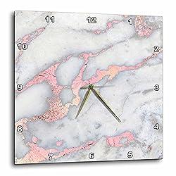 3dRose Luxury Gem Stone Marble Glitter Metallic Faux Print Wall Clock, 10 x 10, Gold