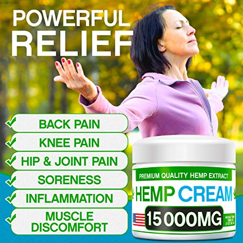 51a3p0h4JAL - Hemp Pain Relief Cream - 15 000 MG - Natural Hemp Extract Relieves Inflammation, Knee, Muscle, Joint & Back Pain - Contains Arnica, MSM & EMU Oil - Non-GMO - Made in USA