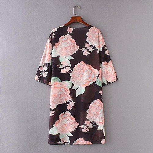 Cardigan Donna Size di Mare Copricostume Cover A Estate Kimono Camicetta Stampa da Donna Spiaggia Sexy feiXIANG Donne floreale parei e Up Tops Copricostumi da Nero Plus Elegante ABT77q