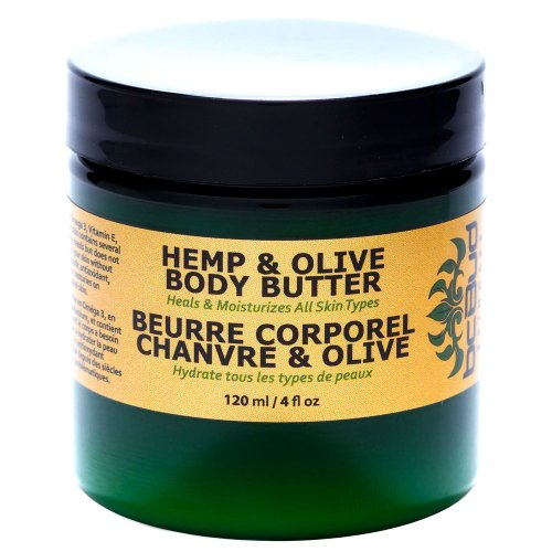 BC Bud Natural Hemp & Olive Body Butter, Creamy Ultra Hydrating Formula for Dry Skin, Made with Pure Hemp Seed Oil, Coconut Oil, Organic Beeswax, 4 oz