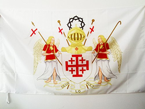 AZ FLAG Equestrian Order of The Holy Sepulchre of Jerusalem Flag 2' x 3' for a Pole - OESSH arms Flags 60 x 90 cm - Banner 2x3 ft with Hole (Equestrian Order Of The Holy Sepulchre Of Jerusalem)
