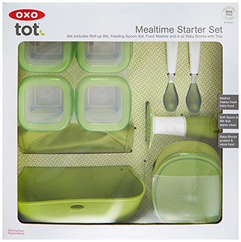 OXO Tot Mealtime Starter Value Set with Roll-up Bib, Feeding Spoons, Food Masher and Four 4oz Baby Blocks Freezer Storage Containers by OXO Tot (Image #2)