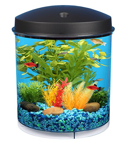 KollerCraft 2 Gallon 360 View Aquarium with Internal Filter and LED Lighting