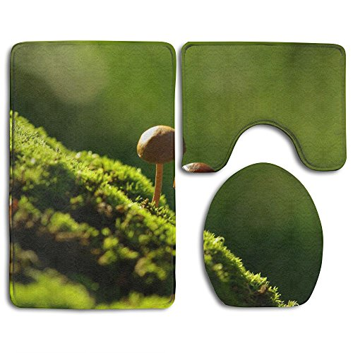 NEW Mushrooms On The Moss 3 Piece Bathroom Mats Set Non-Slip Bathroom Rugs/Contour Mat/Toilet Cover