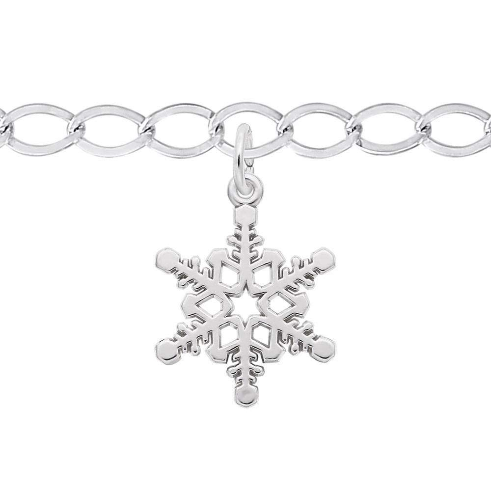 Sterling Silver Snowflake Charm and Bracelet Set