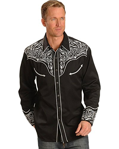 Scully Western Lady Shirt - Scully Men's Full Stitched Yoke Retro Western Shirt Black XX-Large
