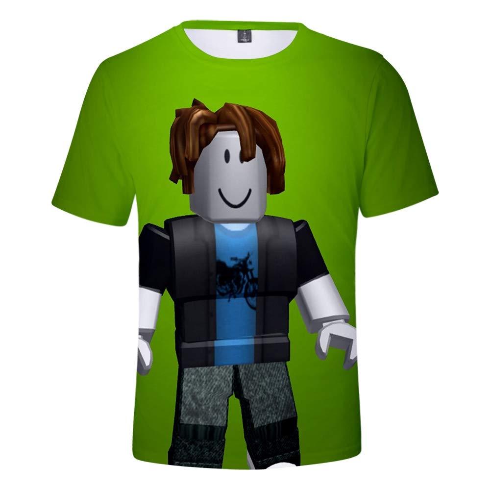 WQWQ Camiseta para Hombre, Cuello Redondo Estampado en 3D, Manga Corta Roblox, Camisa Sandbox Game Slim 100% poliéster XL XXL