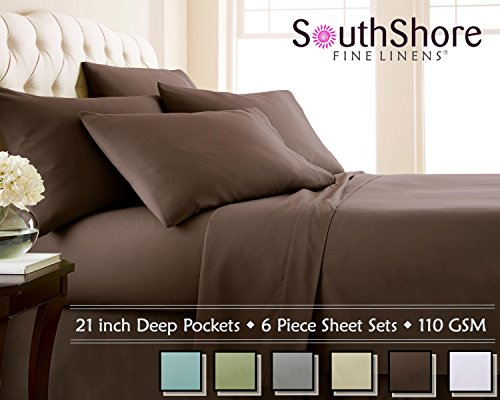Southshore Fine Linens 6 Piece - Extra Deep Pocket Sheet Set - CHOCOLATE BROWN - King