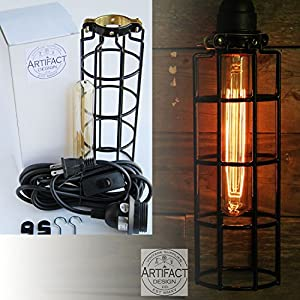 Pendant Lighting by ArtifactDesign - With Industrial Style Long Cage for Authentic Vintage Lights - Includes 15 feet Plug-in Fabric Cord with Toggle Switch and One Tube Edison Bulb
