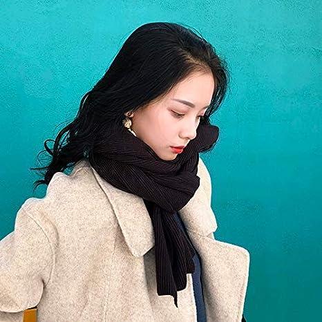 Gvdtjfk Bufanda de Invierno Bufanda Mujer otoño e Invierno Salvaje Punto Color sólido Chal cálido Pareja Lana Hilado Cuello niña Collar (Color: Negro) para Chicas (Color : Black)