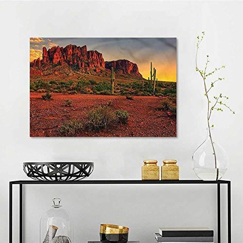 one1love Saguaro Pattern Oil Painting Colorful Sunset in Arizona Modern Decorative Artwork W35 xL23 -