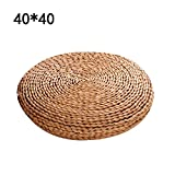 cheerfullus Straw Chair Cushion Yoga Mat Tatami Cushion Zafu Yoga Meditation Pillow Filled with Silk Padding - Straw,40x40cm