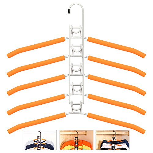 Ivory Coat Rack (LOHOME Clothes Hangers - 5 in 1 Multilayer Anti-slip Clothes Rack Metal Wardrobe Storage Rack Multifunctional Adult Clothes Rack for Household Space Saver (White))