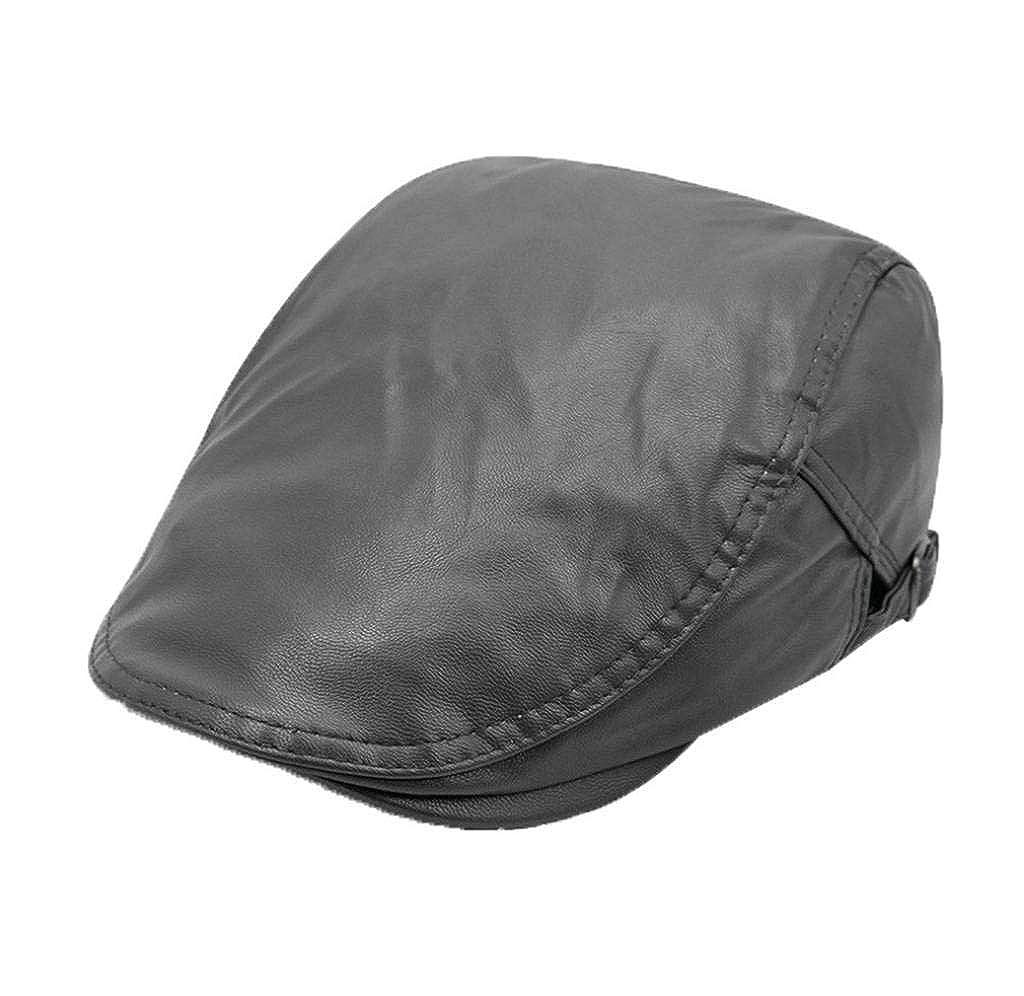 Amazon.com  AOYOMO Men Women Autumn Winter PU Leather Ascot Hat Newsboy Ivy  Cap Coffee  Clothing f171827d3b4