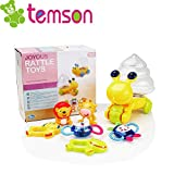 TEMSON Teether and Rattle Toy Musical Instruments Shaker Grab and Spin Rattle Set with Frog Storage Box Toys for 0-12 Month Old Baby Infant Newborn Baby Jungle Rattle Set of 6 Pieces (Frog)