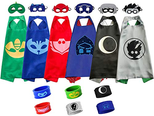 Catboy Owlette Gekko Romeo Luna Girl Night Ninja Costumes, Capes Mask Bracelet for Kids